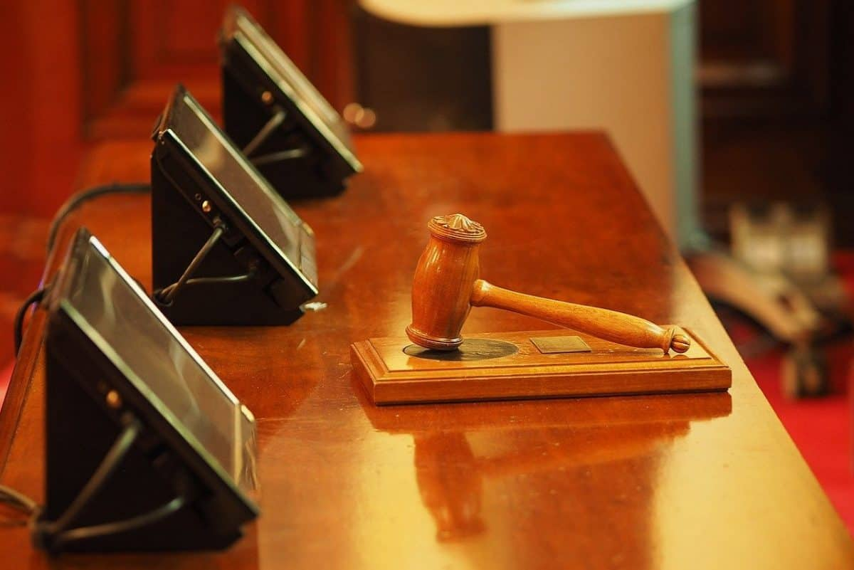 gavel on a court bench