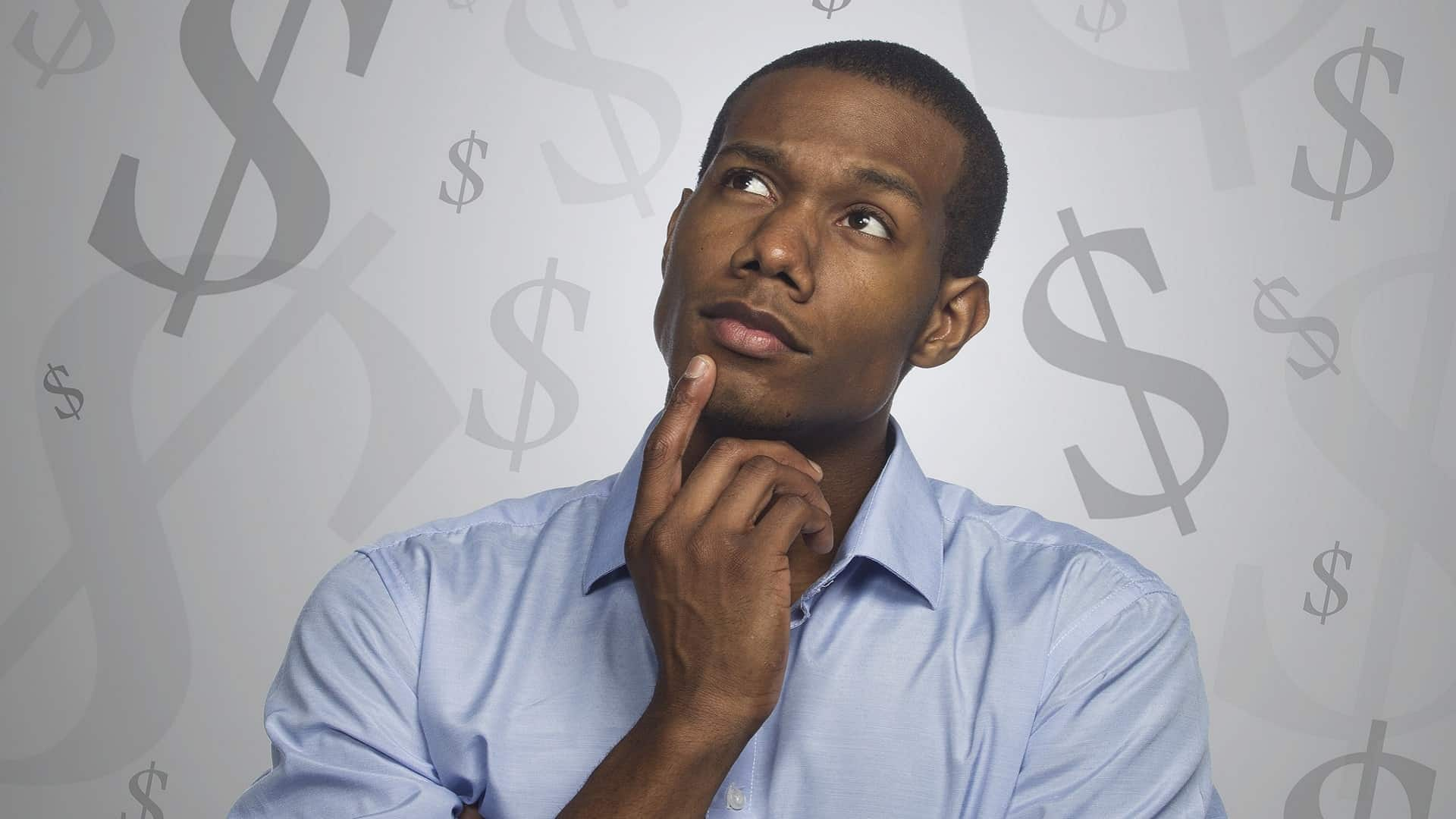man thinking that online arbitration is cheaper with a backround of dollar signs